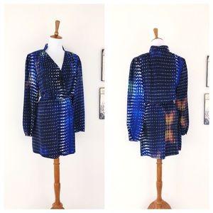PARKER Long Sleeve Silk Print Faux Wrap Dress XS